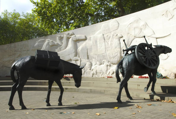 Detail of Animals in War Memorial, Park Lane, London W1